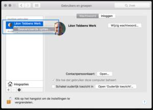 Systeemvoorkeuren - Gebruikers en groepen